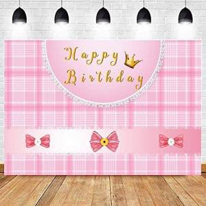 Zhyxia Zhy Sweet Girl Princess Birthday Backdrop 7X5FT Pink Bowknot Golden Crown Plaid Stripes Photography Background Adult Photo Studio Prop LLST128