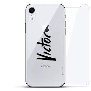 Luxendary Lujosa Placa Trasera de Vidrio Templado Invisible, diseño Fresco, protección 360 Bundle Skin para iPhone EXR Nombre Transparente: Victor, Estilo Escrito a Mano