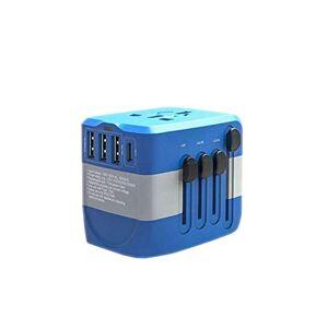WUZHONGDIAN Adaptador de Enchufe de alimentación Viajes internacionales 3 Puertos USB en más de 150 países Adaptador de 100-250 voltios (1 Paquete) Rosa (Color : Blue)