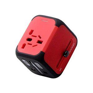 HENGT Convertidor de Enchufe, Conversión Universal En el Extranjero Viajes Tailandia, Japón, Corea, Convertidor Universal, Dual USB Global Omnibus (Color : Red, Size : 6.5 * 5.7 * 5)