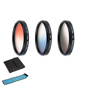 elegantstunning 3 pcs/Set Orange + Blue + Gray Round Gradient Filter for Nikon Canon EOS 7D 5D 6D 50D 60D 600D d5200 d3300 d3200 (55)