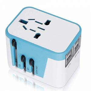 Semme Adaptador Universal International Cargador 4 USB All In One Converter Wall Charge,Travel Power Adapter Charger for US, UK, EU, AU & Asia Covers 150+Countries (Verde)
