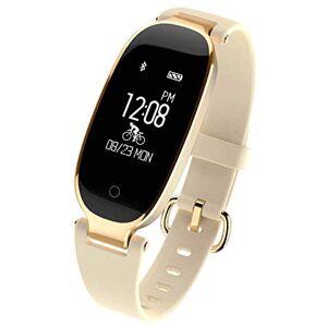 XIAOYUA Pulsera de Ritmo cardíaco Damas Deportes Impermeable Bluetooth Usable Medidor Paso Salud Reloj Pulsera Inteligente (Oro)