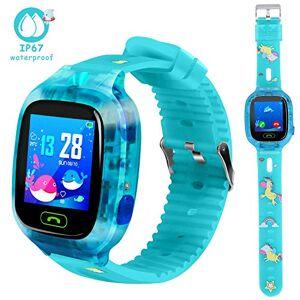 LTAIN Reloj inteligente impermeable para niños, con rastreador GPS, reloj inteligente iOS/Android SOS, alarma, cámara, zona de seguridad, voz, chat, teléfono, libro, sonido, guardián, regalo de cumpleaños para niños, Verde azulado