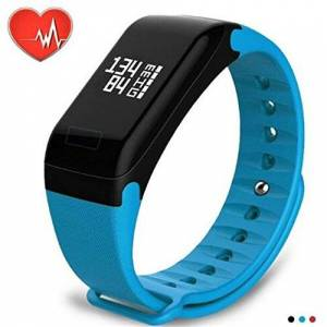 Aoile Reloj de Pulsera Inteligente con Monitor de frecuencia cardíaca y Seguimiento de la presión Arterial, Azul