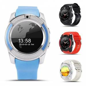 Unknown V8 Bluetooth SmartWatch podómetro, gsm Tarjeta SIM Reloj Inteligente Salud Reloj Pulsera de Fitness podómetro para iPhone, Android, Negro