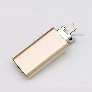 Trissem Teléfono móvil U Disco Tres en uno OTG Metal U Disco 8/16/32 / 64G (Color : Oro, Size : 16G)