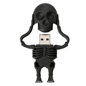 Baoblaze USB2.0 Unidad Flash Drive PenDrive para Guardar Memoria Datos Forma de Cráneo de Goma de Dibujos Animados-Negro Negro-16gb