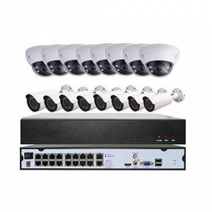NightKing ONVIF HD 1080P PoE IP Sistema de vigilancia de cámara de Seguridad Impermeable 16 Unidades 2 megapíxeles Lente Focal Variable 120 pies PoE IP cámara, 4 TB HDD,