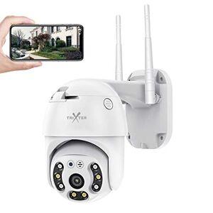 Trixter PTZ Mini Cámara De Seguridad Exterior WiFi Inalambrica HD 1080P, Cámara de Vigilancia Impermeable IP66, IR Visión Noturna De Color 8 Luces, Pan/Tilt 330 Rotación Audio Bidireccional, Detección de Movimiento Humanoide, Monitoreo en Tiempo Real por