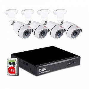 TONTON 8CH Full HD 1080P Expandable Security Camera System, 5-in-1 Surveillance DVR with 1TB Hard Drive and (4) 2.0MP Waterproof Outdoor Indoor Bullet Camera, Free APP Remote Viewing and Email Alert