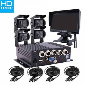 JOINLGO Sistema de grabación de vídeo en tiempo real de 4 canales H.264 1080P AHD SD, para coche, con sistema de grabación de vídeo en tiempo real, IP67, resistente al agua, vista frontal, trasera, cámara de infrarrojos de 2.0 MP, visualización VGA de 7 pulgadas para camión, furgoneta, autobús.