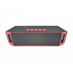Studyset Altavoz inalámbrico Columna estéreo subwoofer USB Altavoces Integrado micrófono Graves Reproductor de MP3 Caja de Sonido, Rojo