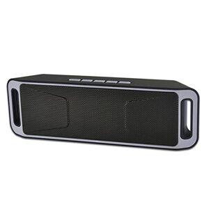 Ocamo Bocina inalámbrica Bluetooth con USB, radio FM, reproductor de MP3 estéreo, compatible con tarjeta TF, tiempo de reproducción de hasta 5 horas (conexión Bluetooth, bocina de sonido de graves dobles, manos libres, micrófono de alta definición), Gris