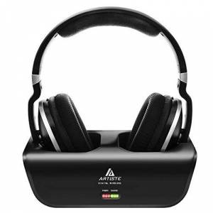 ARTISTE ADH300 Stereo 30M Distance Wired/ Wireless Digital TV Headphones/Headset with 2.4GHz including Transmitter that acts as the Charging Dock Rechargeable (Black)