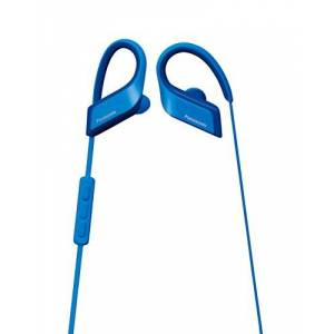 Panasonic Blue Wireless Earphone Sports with Bluetooth Waterproof Mike Remote Control RP-BTS35-A