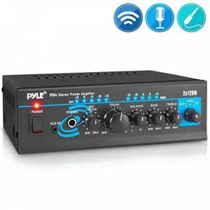 Pyle Home Audio Power Amplifier System 2X120W Mini Dual Channel Mixer Surround Sound Stereo Receiver Box w/ RCA, AUX, Mic Input For Amplified Speakers, PA, CD Player, Theater PTA4
