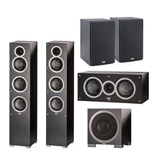 Elac Debut F5 Tower Speakers (EA) C5 Debut 5,25 Pulgadas Altavoz Central S10EQ Debut 400 vatios subwoofer con AutoEQ B5 Debut 5,25 Pulgadas Bookshelf Altavoces (par)