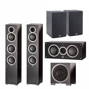 Elac Debut F5 Tower Speakers (EA) C5 Debut 5,25 Pulgadas Altavoz Central S10EQ Debut 400 vatios subwoofer con AutoEQ B5 Debut 5,25 Pulgadas Bookshelf Altavoces (par)