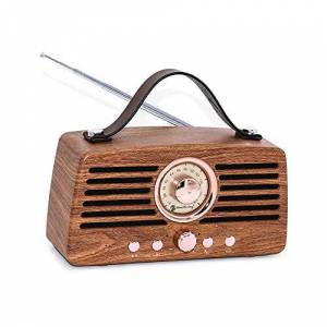 KJRJLY Altavoz Bluetooth, USB móvil del Estilo Retro del teléfono Tarjeta HiFi sin Hilos Portable Subwoofer Radio de Madera del Grano Altavoz de Doble Altavoz (Color : B)