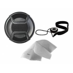Digital Nc Sigma SD14 Lens Cap Center Pinch (67mm) + Lens Cap Holder + Nwv Direct Microfiber Cleaning Cloth.
