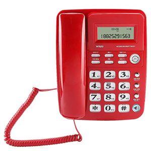 Sanpyl Teléfono Fijo, Soporte Telefónico Fijo de Escritorio 37 Grupos de Registro de Identificación de Llamadas con 16 Selecciones de Tonos de Llamada para la Oficina Doméstica(Rojo)