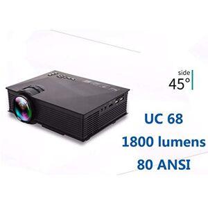 RONSHIN UC68 Proyector LED HD 1080p, 1800 lúmenes, Multimedia, Cine en casa, Negro, (Black US Plug)