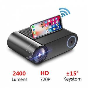 beiping Proyector Led 720P 2400 Lúmenes 1280X720 HD, Video Beamer Hdmi USB 1080P Proyector Bluetooth WiFi Beamer