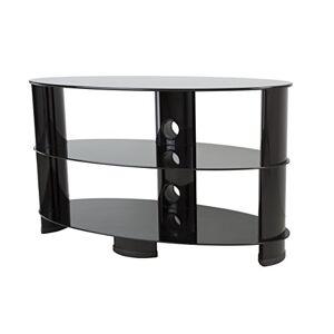 AVF Soporte de TV con estantes de Vidrio para televisores de hasta 60 Pulgadas, Oval, Negro, Pequeño