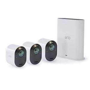 Arlo Technologies, Inc Arlo Ultra Cámara de Seguridad 4K UHD sin Cables   Cámara de Seguridad para Interiores y Exteriores con visión Nocturna a Color, Vista de 180, Audio de 2 vías, Foco, Sirena   Funciona con Alexa