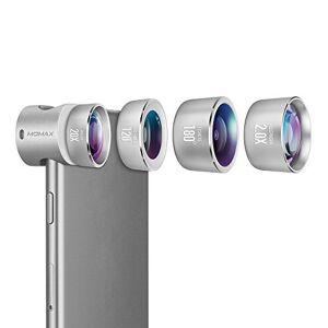 MOMAX Lente profesional para cámara iPhone 7 Plus y lente de gran angular de 120  + lente ojo de pez de 180  + lente macro 20X + 2 x teleobjetivo teleobjetivo cámara con clips para iPhone 7 Plus y series iPhone, Plateado