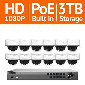 LaView 16 canales Full HD IP interior/exterior, sistema NVR de 3 TB (12) cámaras domo 1080P de visión remota Recor de movimiento