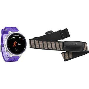 Garmin Forerunner 230 Reloj para correr Bundle con banda de frecuencia cardiaca (HRM-Premium) Blanco/Morado