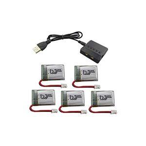 RONSHIN 5PCS 3.7V 220mah Batería de Litio con Cargador 5 en 1 para Eachine E010 GoolRC T36 NINHUI NH010 F36 Holy Stone HS210 Accesorios Drone