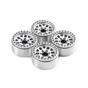 Cecileie 4PCS 1,9 Pulgadas Metal Resistente neumáticos Eje Ruedas con aro fijado para el 1:10 RC orugas SCX10 90046 TRX4 Accesorios D90 de Coches