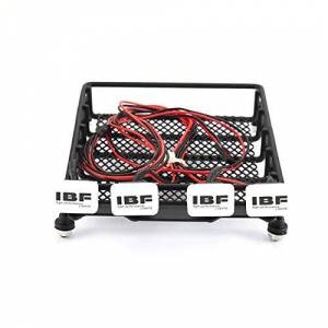 Cecileie Universal RC Car Metal Roof Rack Luggage Storage Basket and Square 4 LED Lights Portable Crawler Truck Carrier For HSP REDCAT