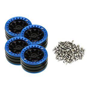 Cecileie 4PCS 1,9 Pulgadas Pesado de aleación de Aluminio de neumaticos Hub de rin Set BEADLOCK Ruedas Llantas para RC orugas 1/10 SCX10 D90 90046 TRX4