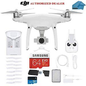 DJI Phantom 4 Drone cuadricóptero con 4 KB de vídeo, Kit Completo Incluye 2 baterÍ, Tarjeta SanDisk Micro SDXC de 64 GB, Sistema de Transporte con Correa, Lector de Tarjetas 3,0 y paño