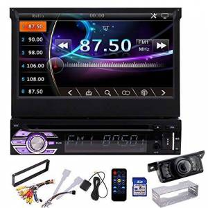"""EinCar Universal Car Radio Receiver Audio System 7"""" Single DIN Car Stereo with Capacitive Touchscreen Colorful Buttons In Dash Head Unit GPS Navigation 8GB Map Card Bluetooth with Backup Camera"""