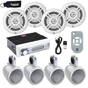 "Dual Electronics DUAL UTV Stereo Marine Receiver w/USB, AUX (no cd), Four 6.5"" Marine Speakers w/Enclosures & Bluetooth Adapter"