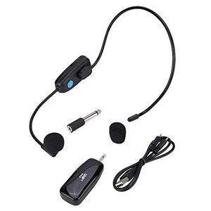 V BESTLIFE Auriculares con micrófono inalámbrico, Distancia inalámbrica de 50 m, Sistema de micrófono con Auriculares de bajo Consumo, para el Profesor guía (Negro)