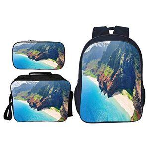Cameon Mochila de viaje al aire libre con decoraciones hawaianas Na Pali Coast ligera, duradera y bonita bolsa de escuela Kauai, Multi02, W11.02xH17.32In