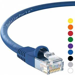 InstallerParts 15 Ft Cat 5E Molded Snagless Patch Cable Blue -- Professional Series -- 50 Micron Gold Plated RJ45 Connectors -- Data Network