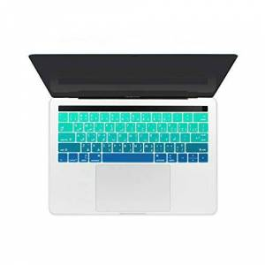 Dreamture Funda de teclado de silicona impermeable para MacBook Pro 13 de 15 pulgadas con Touch Bar 2017 y 2019, color verde degradado