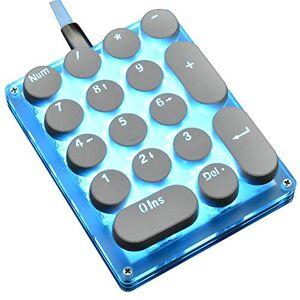 hokistudio Teclado mecánico con retroiluminación LED programable con 24 teclas de 17 números, para computadora, computadora portátil, Mac Win para contabilidad Outemu Switch, 17 teclas azul interruptor versión LED