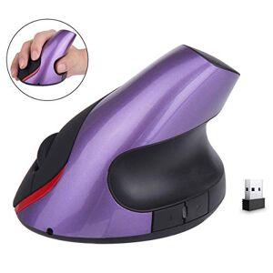 Mincheda 2.4 GHz WiFi Ratón Inalámbrico Ergonómico Recargable 5 Botones USB Mouse Óptico Forma Vertical Wireless Protege el Brazo (Morado)