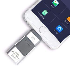 I-flashDrive 64 GB iFlash Device Memory, Data Storage Dual USB-Flash Drive For Apple Iphone 7, 7plus, 6s, 6s plus, 6, 6 plus , Ipad air 2 , iOS-PC-Android (Silver)