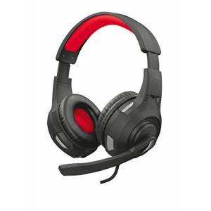 Trust GXT 307 RAVU Biauricular Diadema Negro, Rojo Auriculares con micrófono (PC/Juegos, Biauricular, Diadema, Negro, Rojo, Giratorio, Alámbrico)