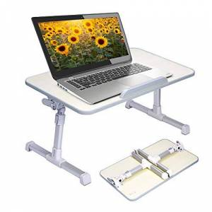 Avantree Adjustable Laptop Table, Portable Standing Bed Desk, Foldable Sofa Breakfast Tray, Notebook Stand Reading Holder for Couch Floor Minitable Honeydew