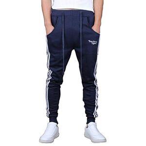 HHLJ Pantalones de chándal para hombre, para correr, deportes, gimnasio, hip-hop, de ajuste delgado, para hombre,  Marino, XX-Large